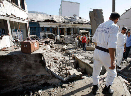 Debris in Tizi Ouzou following a suicide attack, 3 August 2008.