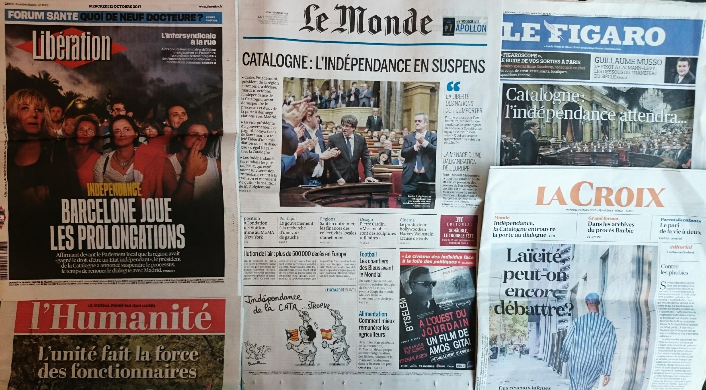 Jornais franceses desta quarta-feira 11 de Outubro de 2017.