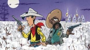 Détail de la couverture de la bande dessinée de Lucky Luke «Un cow-boy dans le coton», de Jul et Achdé.