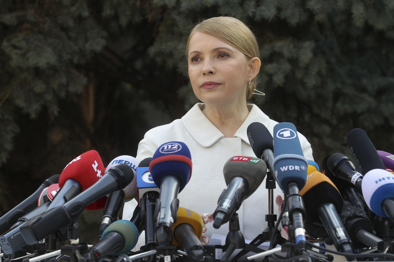 Ioulia Timochenko annonce sa candidature lors d'une conférence de presse à Kiev ce jeudi 27 mars 2014.