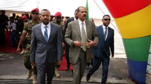 Le Premier ministre éthiopien Abiy Ahmed et le président érythréen Issayas Afewerki, le 16 juillet 2018 à Addis-Abeba.