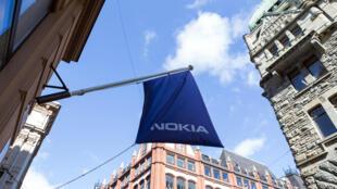 Entrée d'un magasin Nokia, à Helsinki.