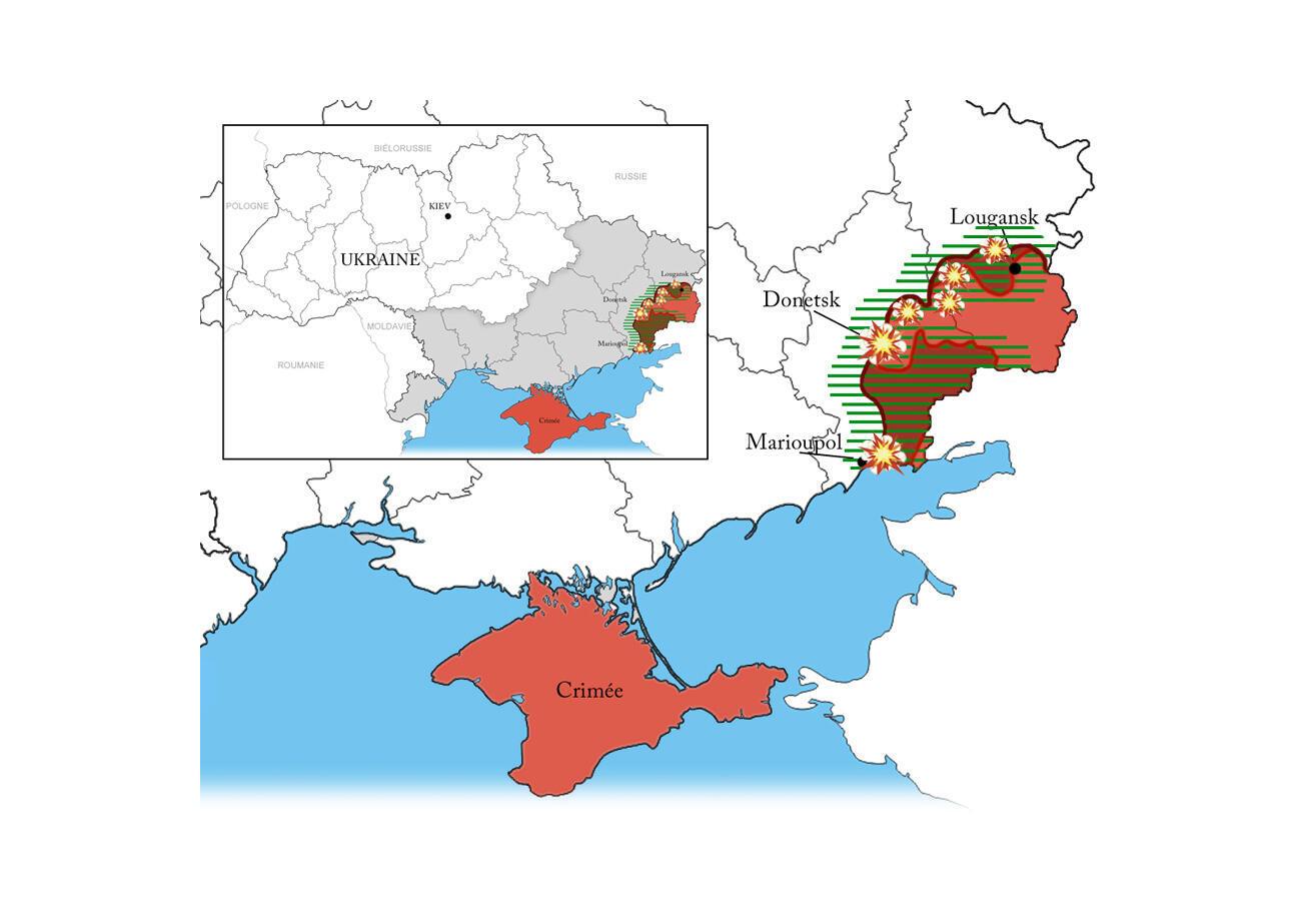 Khu vực do quân nổi dậy kiểm soát tại miền đông Ukraina. (DR)