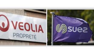 Logos des entreprises françaises Véolia et Suez.