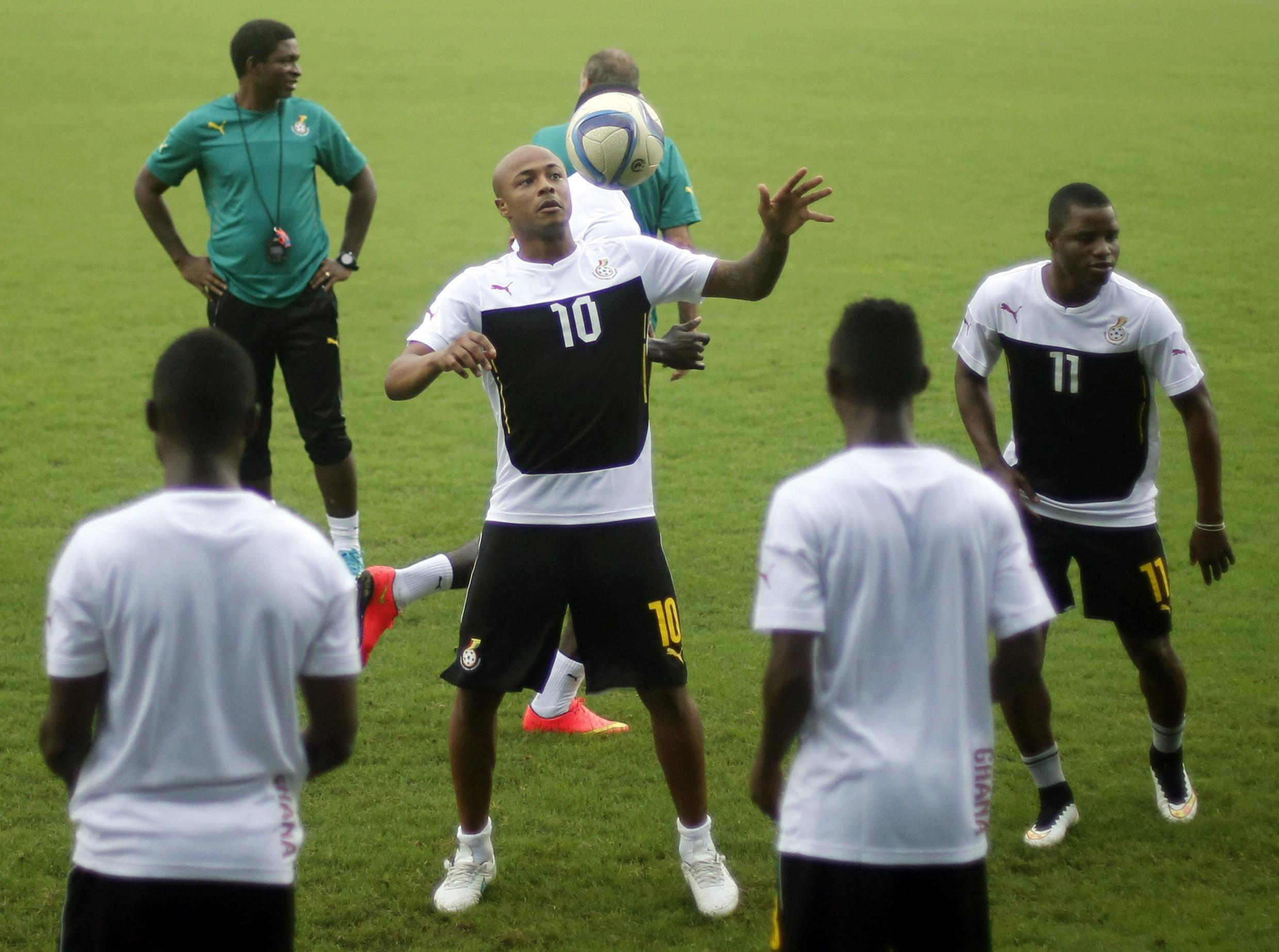 Ghana's Andre Ayew at a training session at Bikuy on the outskirts of Bata on Saturday