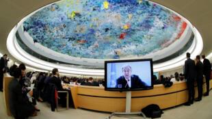 2018年2月26日,聯合國秘書長古特雷斯在日內瓦第37屆聯合國人權理事會開幕會議上發言。