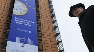 A Bruxelles, devant le siège de la Commission européenne.
