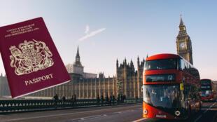 英国护照与伦敦示意图