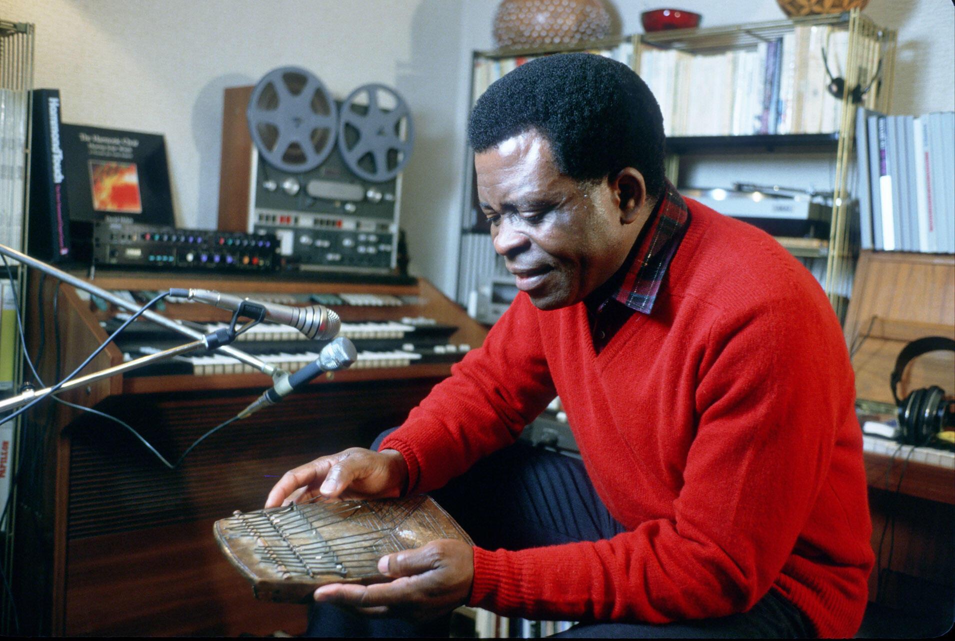 Portrait du chanteur camerounais Francis Bebey.
