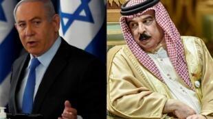 Le Premier ministre israélien Benyamin Netanyahu (g) et le roi du Bahreïn Hamad bin Isa al-Khalifa (montage photo AFP).
