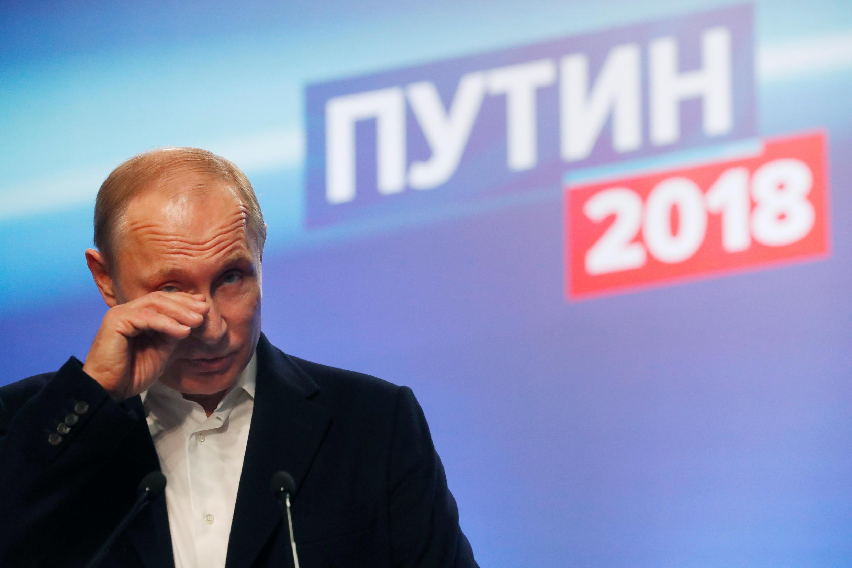 Tổng thống Vladimir Putin phát biểu tại tổng hành dinh ban bầu cử của ông tại Mátxcơva (Nga) ngày 18/03/2018.
