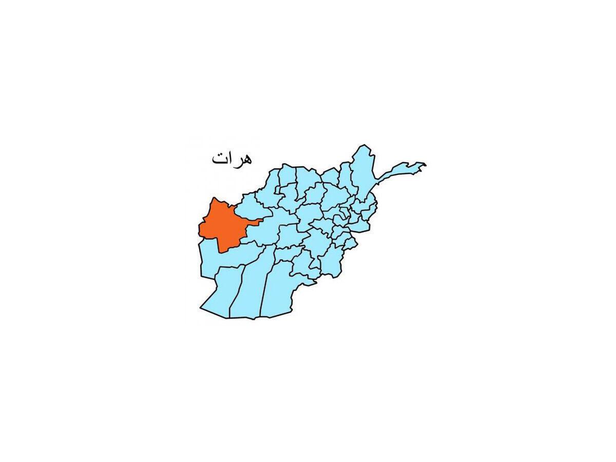 """موقعیت جغرافیایی ولایت """"هرات""""، بروی نقشه افغانستان"""