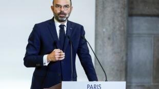 Thủ tướng Edouard Philippe công bố dự luật cải cách hưu trí tại Hội Đồng Kinh Tế, Xã Hội và Môi Trường, Paris, Pháp, ngày 11/12/2019