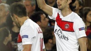 Javier Pastore, tác giả bàn mở tỷ số cho PSG trong trận gặp Barça  ngày 10/4/ 2013.