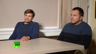 Imagens de vídeo divulgado pelo canal internacional RT em 13 de setembro de 2018 com os dois suspeitos de envenamento, Alexander Petrov e Ruslan Boshirov, do ex-espião russo Sergei Skripal. e sua filha Yulia.