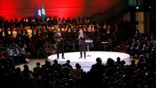Le président français Emmanuel Macron s'adresse à des entrepreneurs lors d'un forum organisé par la Tony Elumelu Foundation, à Lagos, le 4 juillet 2018.