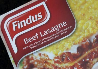 Embalagem da lasanha Findus apreendida com carne equina no lugar de carne bovina no Reino Unido.