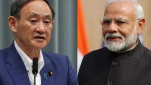 日本首相菅义伟与印度总理莫迪资料图片