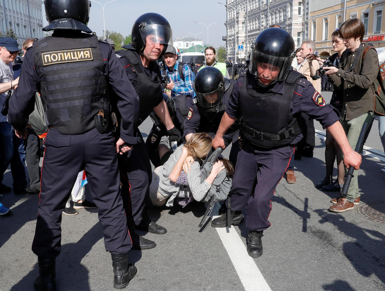 1.500 người bị câu lưu trong các cuộc biểu tình chống tổng thống Vladimir Putin ngày 05/05/2018.