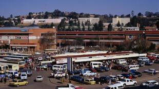 Vue de Mbabane, capitale de l'ex-Swaziland, centre administratif et commercial situé dans la partie occidentale du pays.