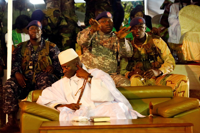 Yayha Jammeh, a 29 de novembro, em Banjul, durante a campanha eleitoral das presidenciais de 1 de dezembro de 2016