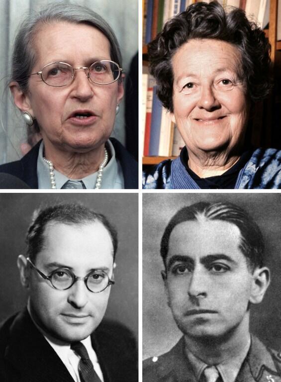 De g. à d. et de h. en b. : Geneviève de Gaulle-Anthonioz (en 1987), Germaine Tillion (en 1972), Jean Zay et Pierre Brossolette (portraits non datés).