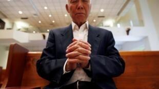 曾参加黄雀行动,帮助八九民运人士逃亡的朱耀明牧师。 2019年5月14日摄于香港