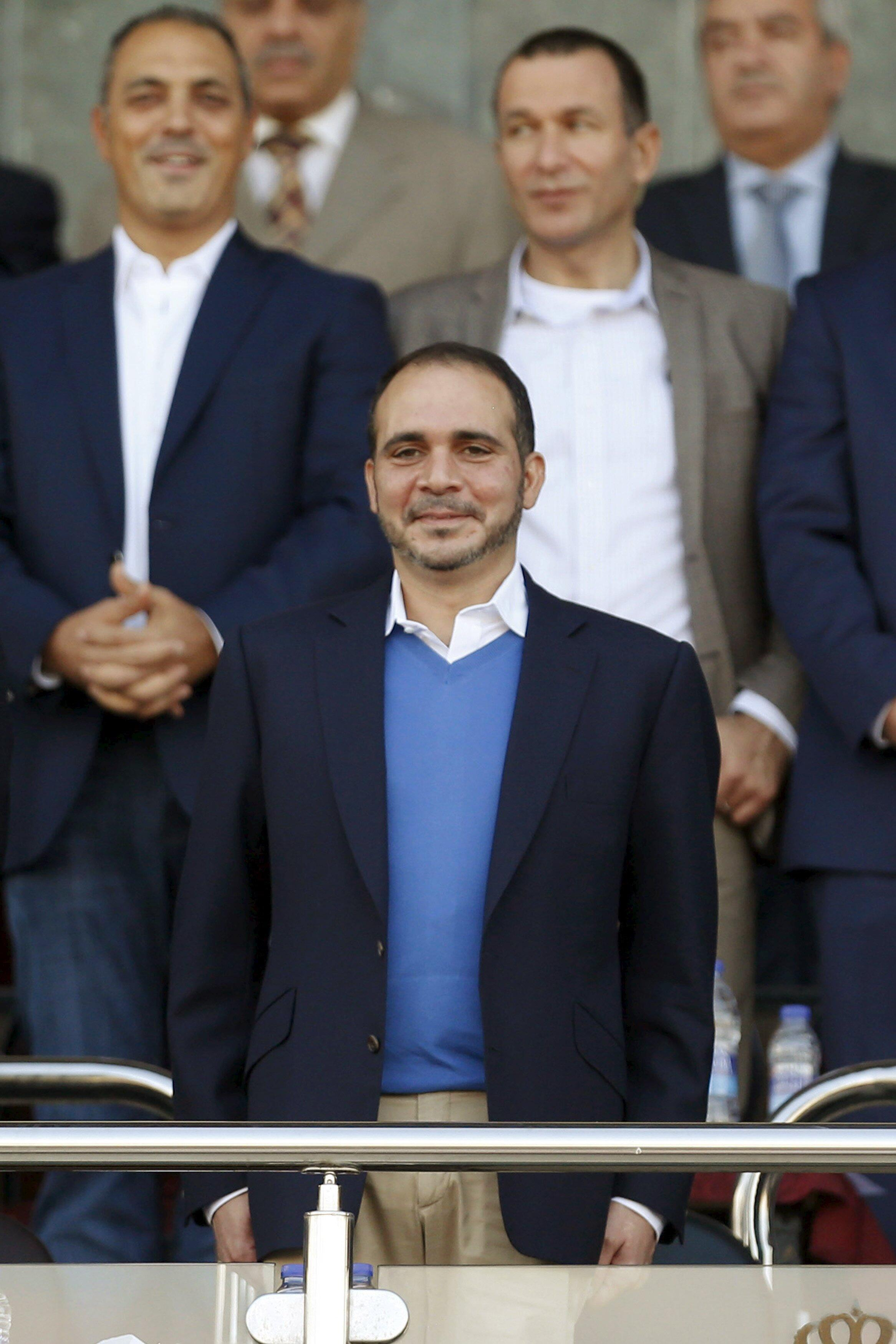 Prince Ali attends the 2018 World Cup qualifying match between Jordan and Australia in Amman, 8 October 2015.