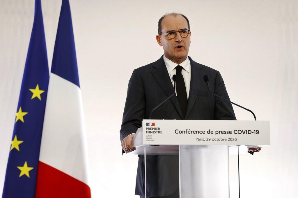 Thủ tướng Pháp Jean Castex họp báo về Covid-19. Ảnh minh họa.