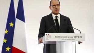 Le Premier ministre, Jean Castex, annonce les mesures de reconfinement, le 28 octobre, depuis Matignon.