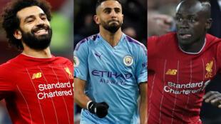 O egípcio Mohamed Salah, o argelino Riyad Mahrez e o senegalês Sadio Mané, da esquerda para a direita, são os três finalistas ao título de melhor jogador africano do ano.