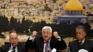 Le président de l'Autorité palestinienne Mahmoud Abbas, lors du Conseil central de l'OLP, le 14 janvier 2018 à Ramallah.