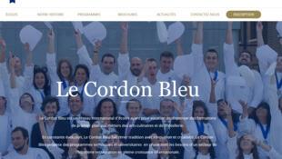 La page d'accueil du site de l'école «Le Cordon Bleu».