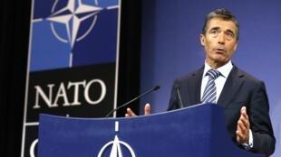 Le secrétaire général de l'Otan lors d'une réunion des ministres de la Défense des 28 pays de l'alliance atlantique, le 4 juin 2013 à Bruxelles.