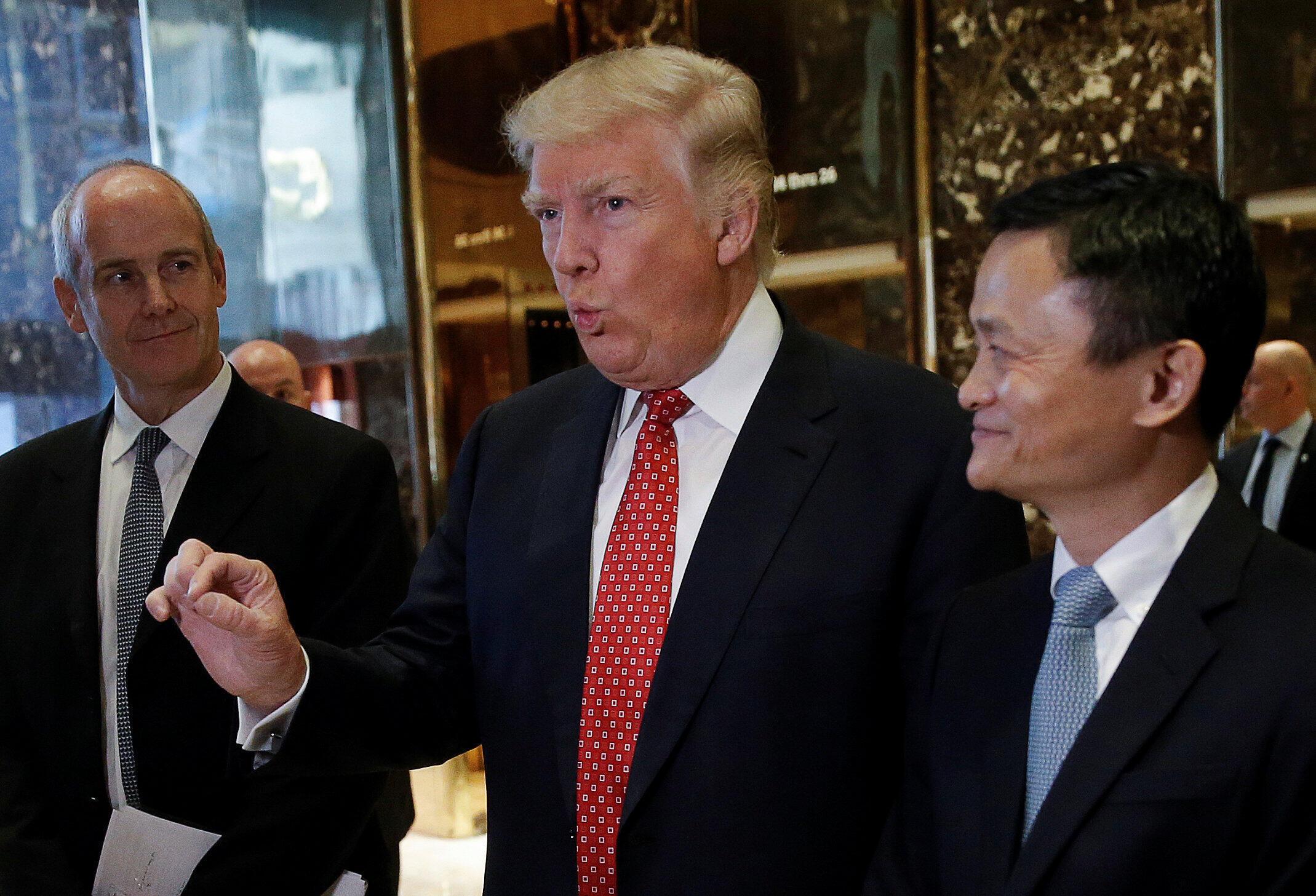 9號馬雲前往紐約特朗普大廈會見了候任美國總統特朗普 承諾五年內要為美國創造100萬個就業機會