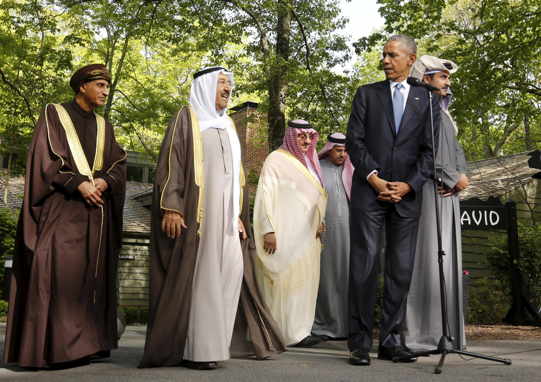 Barack Obama en compañía de los jefes de estado del Golfo, Camp David, Maryland, 14 de mayo de 2015.