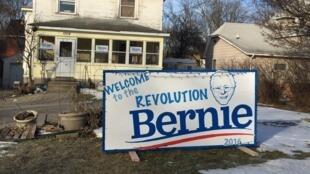Maison d'un supporter de Bernie Sanders, dans la ville de Des Moines dans l'Iowa.