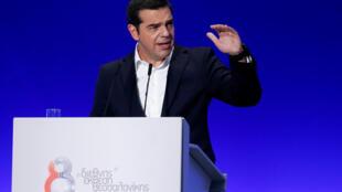 Le Premier ministre grec, Alexis Tsipras, lors de son discours à la Foire internationale de Thessalonique, le 8 septembre 2018.