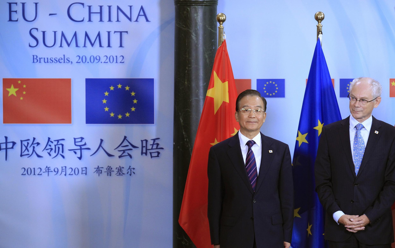 2012年9月20日,出席歐中峰會的中國總理溫家寶和歐洲理事會主席範龍佩。