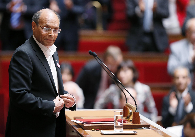 Le président tunisien Moncef Marzouki à la tribune de l'Assemblée nationale, le 18 juillet 2012.