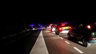 Un embouteillage aux abords du village d'Igualada, près de Barcelone, en mars 2020. (Image d'illustration)