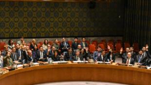 Đại diện các nước tại Hội Đồng Bảo An Liên Hiệp Quốc biểu quyết trừng phạt lần thứ 9 Bắc Triều Tiên, ngày 11/09/2017, New York.