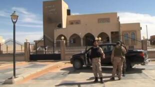 Capture d'écran montrant les forces de sécurité du gouvernement d'union nationale libyen à Abou Grein, après l'annonce de la reprise de la ville.