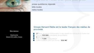 Capture d'écran du site internet du Groupe Hersant Média.