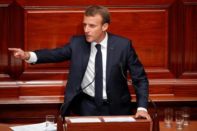 Shugaban Faransa, Emmanuel Macron, yayin gabatar da jawabi ga 'yan majalisun kasar. Ranar 9 ga watan Yuli, 2018.