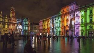 Une des installations lumineuses lors de la Fête des Lumières, dans le centre de Lyon, le 5 décembre 2012.