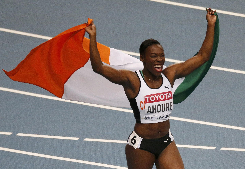 La joie de Murielle Ahouré, médaille d'argent du 100 mètres, le 12 août 2013.