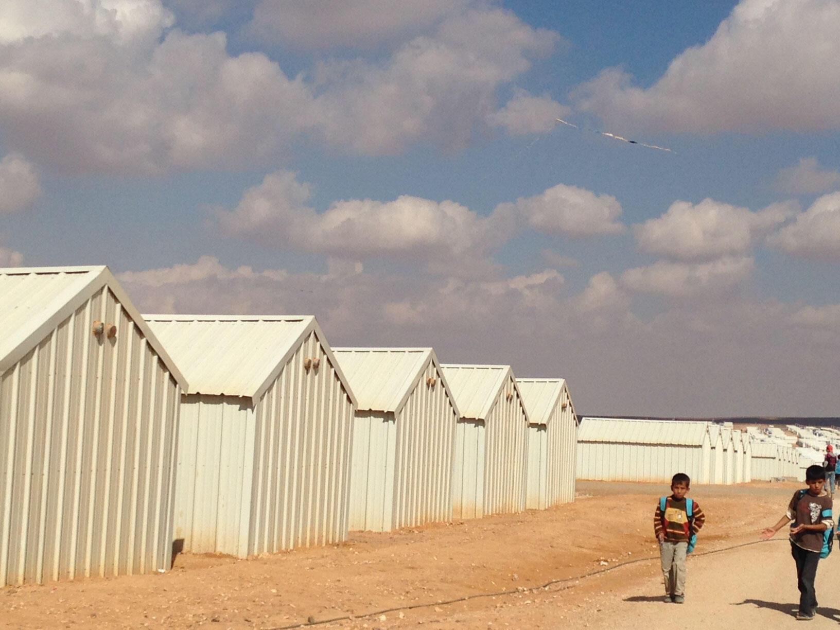 Camp de réfugiés syriens d'el-Azrag en Jordanie.