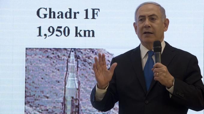 کنفرانس خبری روز دوشنبه ١٠ اردیبهشت/ ٣٠ آوریل ٢٠۱٨، بنیامین نتانیاهو، نخست وزیر اسرائیل.،