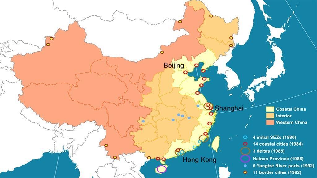 China's Special Economic Zones and other areas that enjoy preferential trade- and investment regulations for foreign companies